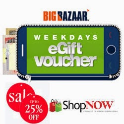 Get Big Bazaar Weekdays e-Gift vouchers 10% off to 25% off at FutureBazaar: Buytoearn