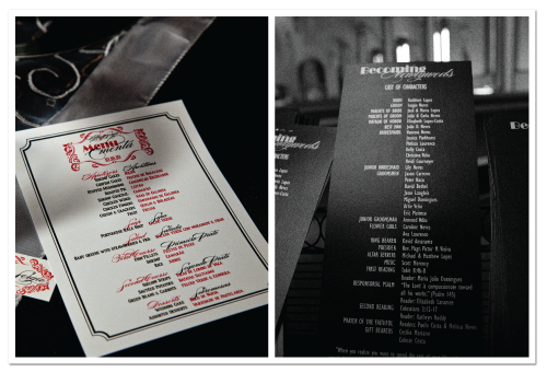 custom dinner menu card design movie credit theme ceremony program