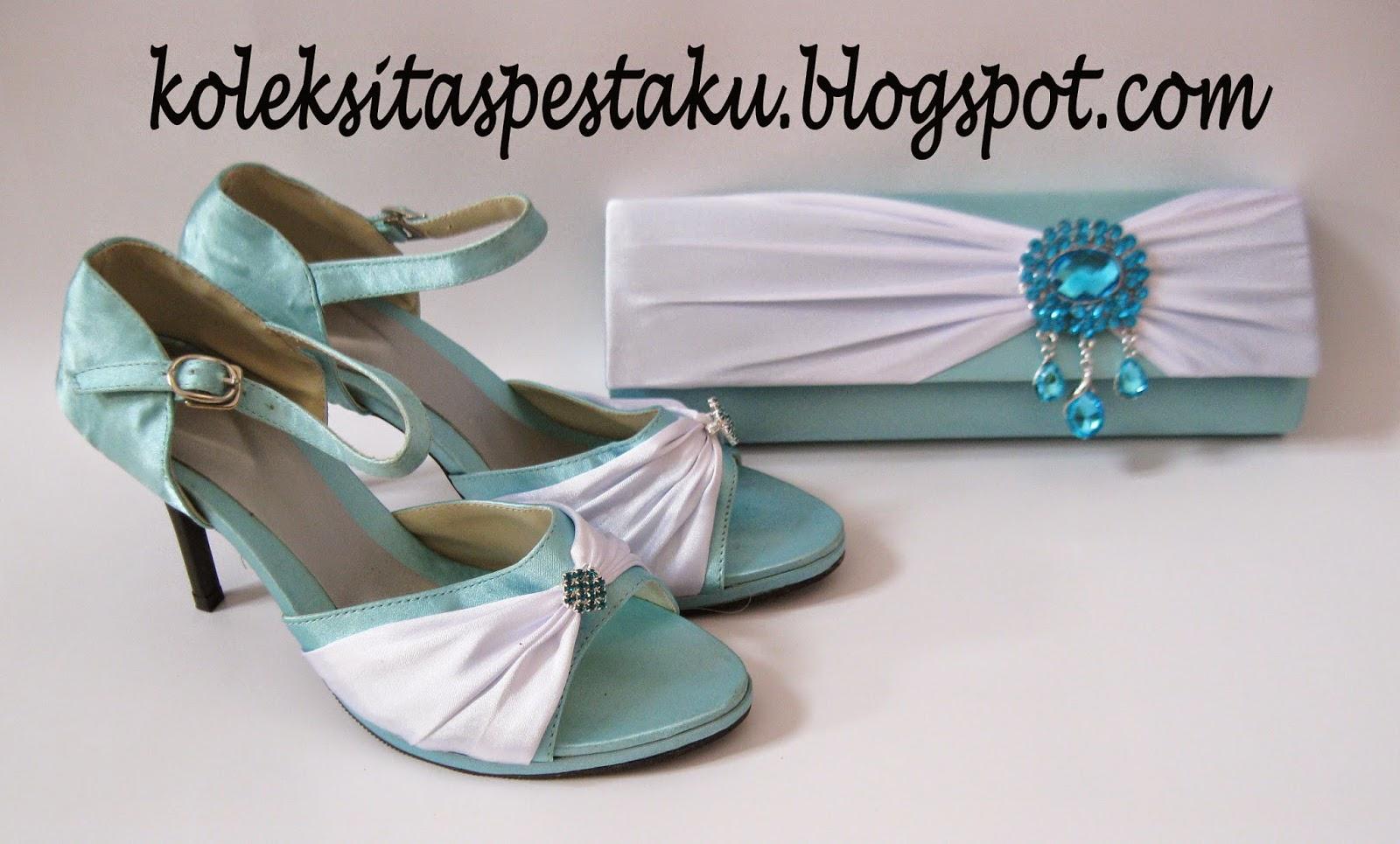 Tas pesta cantik mewah dan sepatu biru muda putih cantik elegant