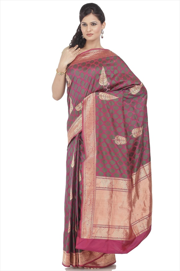 Persian Wine Kattan Silk Banarasi Saree