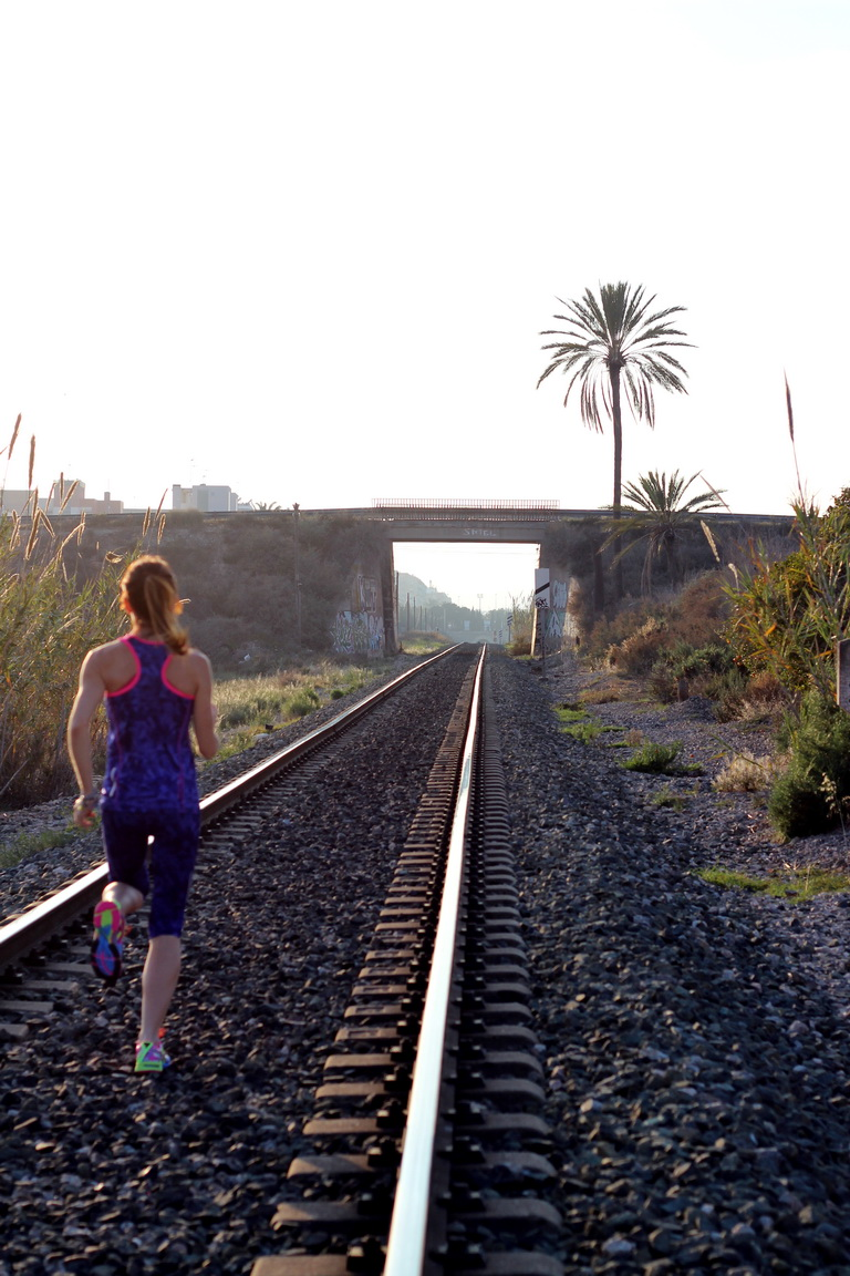 via tren, elche, atardecer, fashion runner , runner