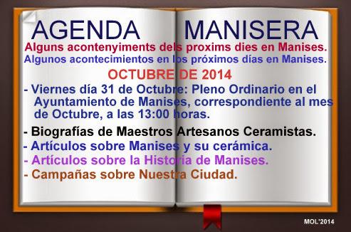 AGENDA MANISERA SEMANA 44 DE 2014