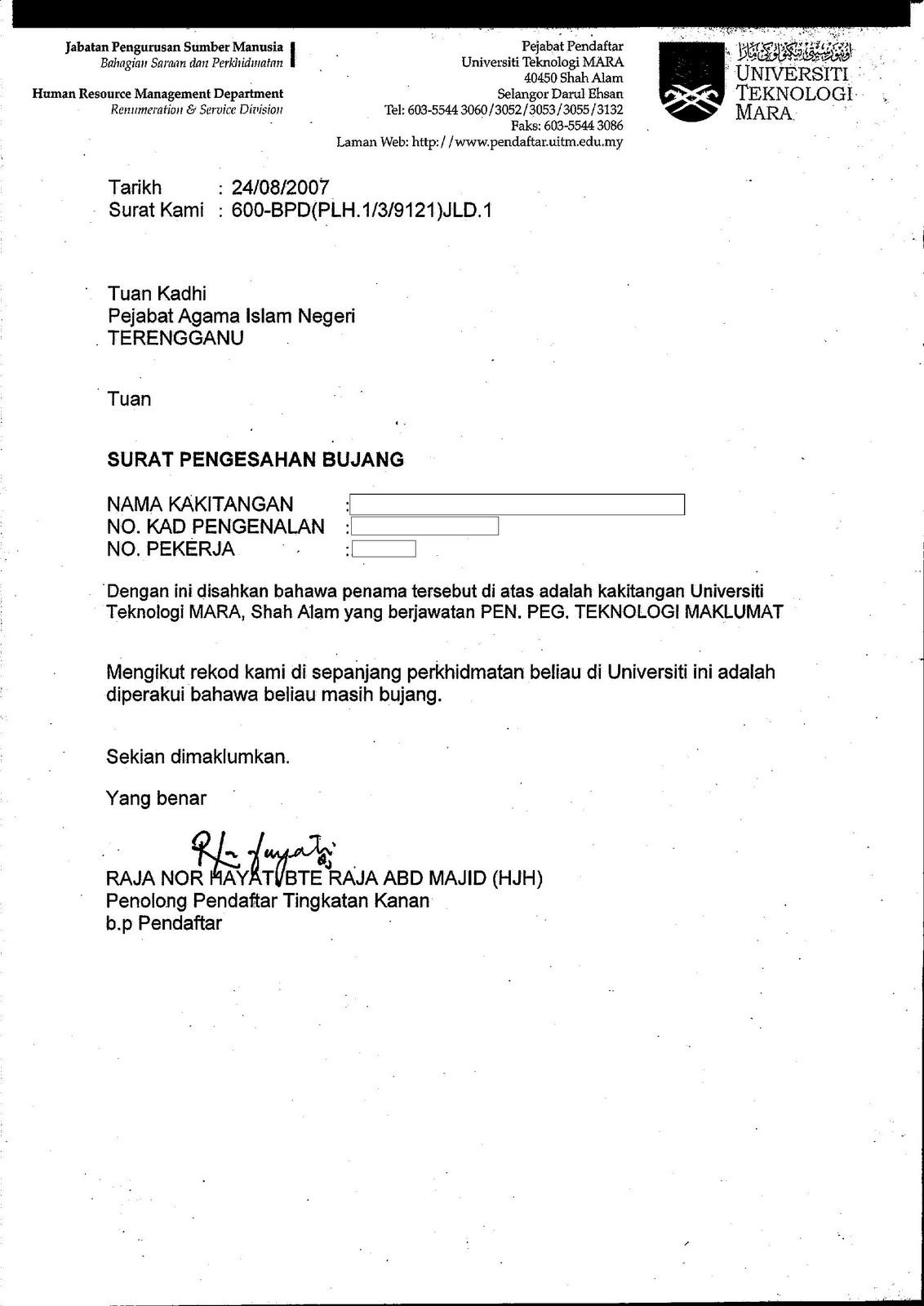 Contoh Surat Akuan Bersumpah Tidak Bekerja
