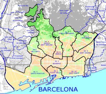 Barcelone Carte De La Ville Carte Espagne Ville Region Politiques