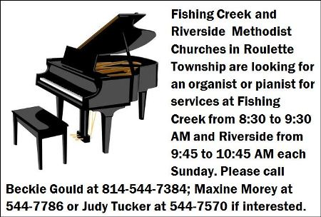 Pianist or Organist Wanted For Roulette Churches