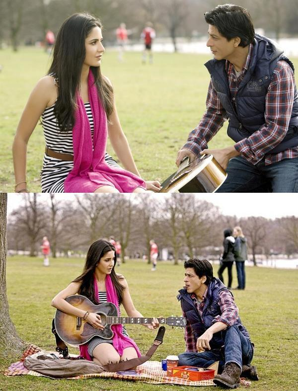 Katrina Kaif Playing Guitar for Shahrukh Khan - Shah Rukh Khan and Katrina Kaif Wallpapers in Garden - New YRF Movie