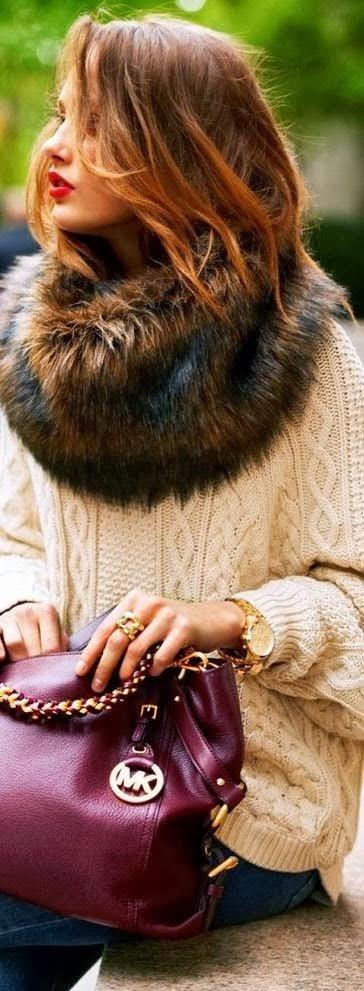 Amazing Cream Fur Sweater with Fashionable Michael Kors Burgundy Leather Handbag