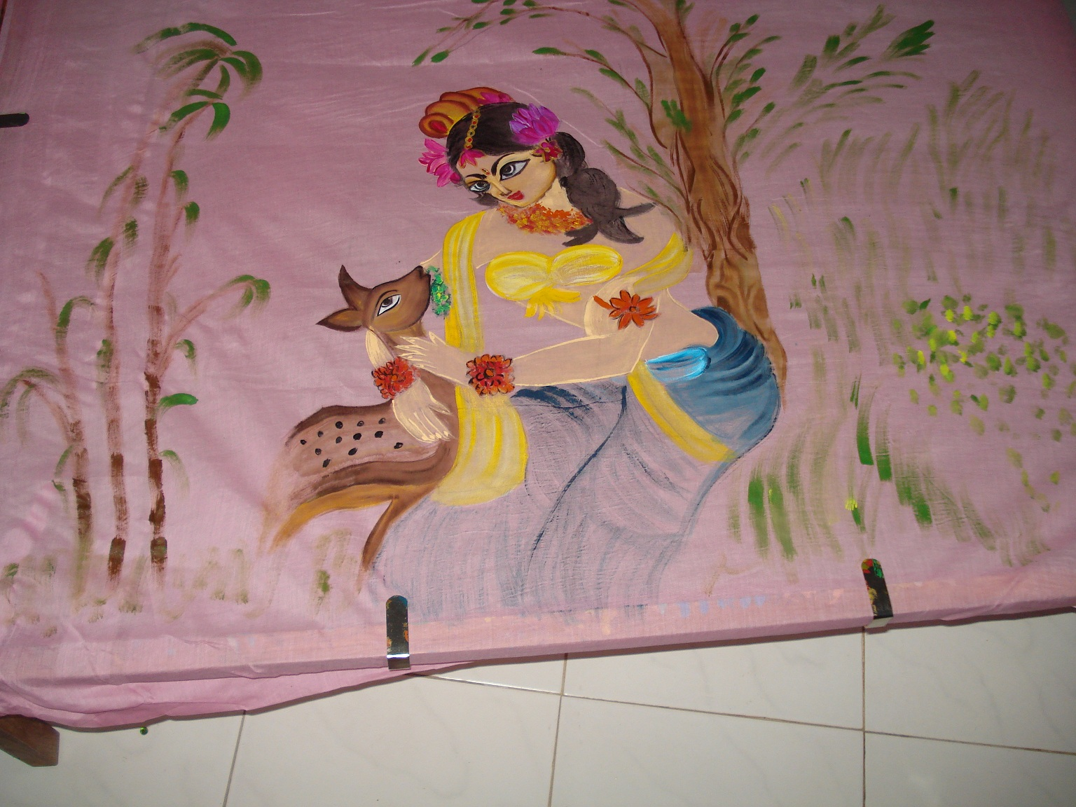 Shakuntala figure mural painting on cotton fabric for A mural is painted on a