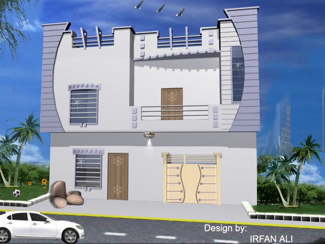 4 marla front elevation modren plan