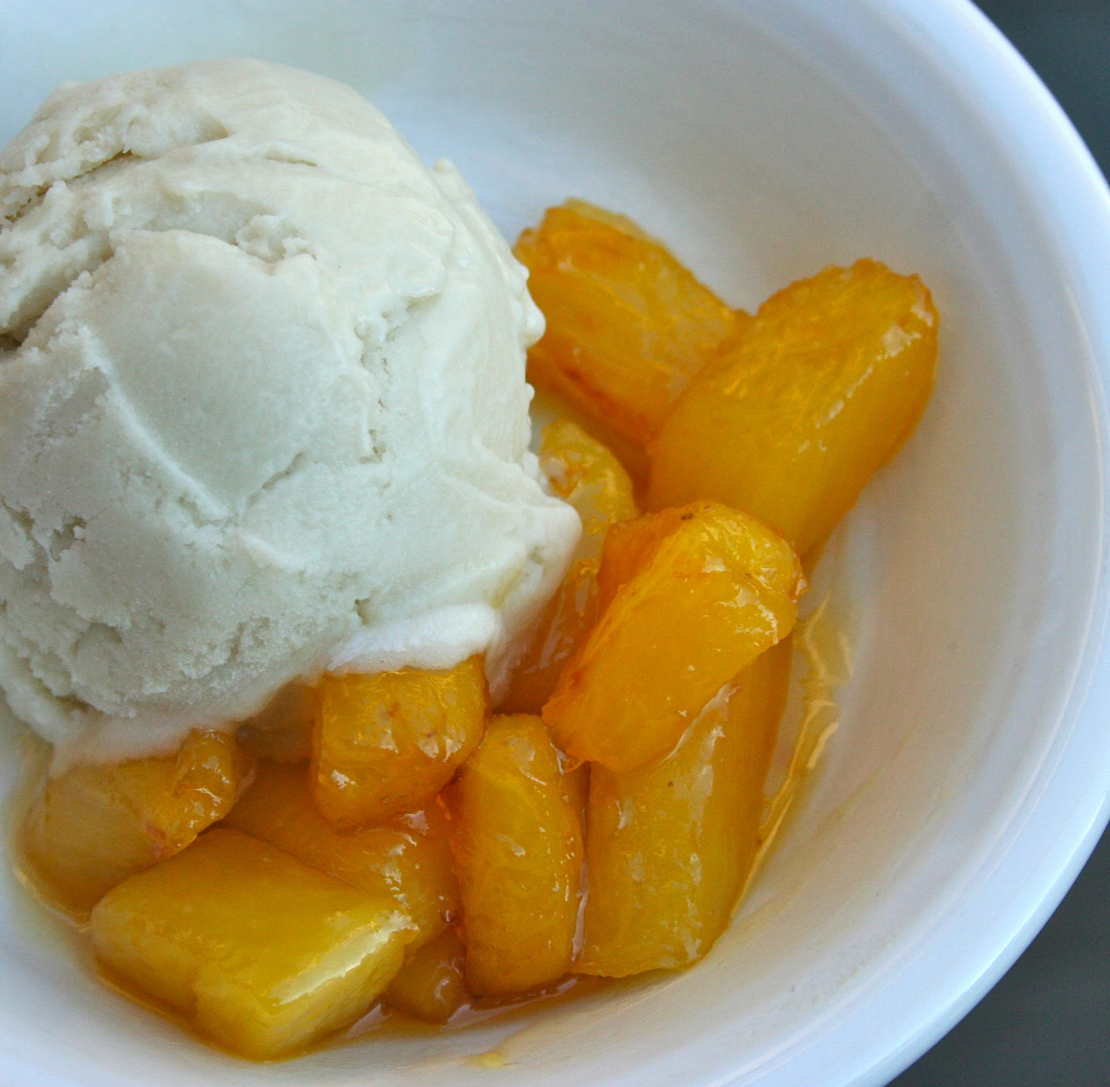 Lemongrass Ice Cream with Pineapple Compote