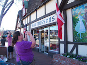 Tiffany taking pictures of one of the shops in Solvang