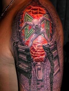 3D Game Alien Tattoo Design on Arms