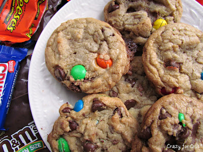 candy overload cookies overhead photo on white plate
