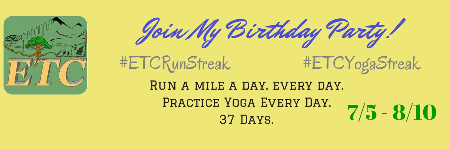 Join My Birthday Party - Your Choice: Run Streak or Yoga Streak | enjoyingthecourse.com