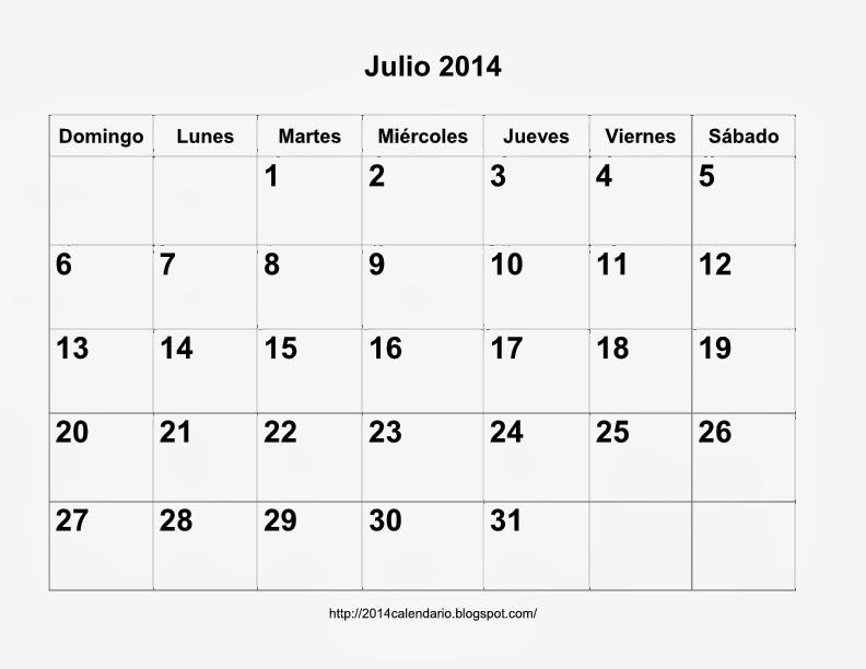 Calendario Mes de Julio 2014 /calendario Julio 2014