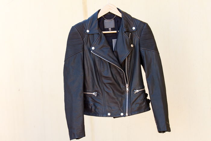 Black Leather Biker Jacket Horana style by MUUBAA