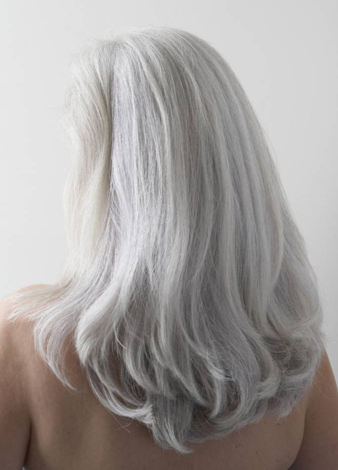 Hair Ink Straight Long Gray Hair Ladies