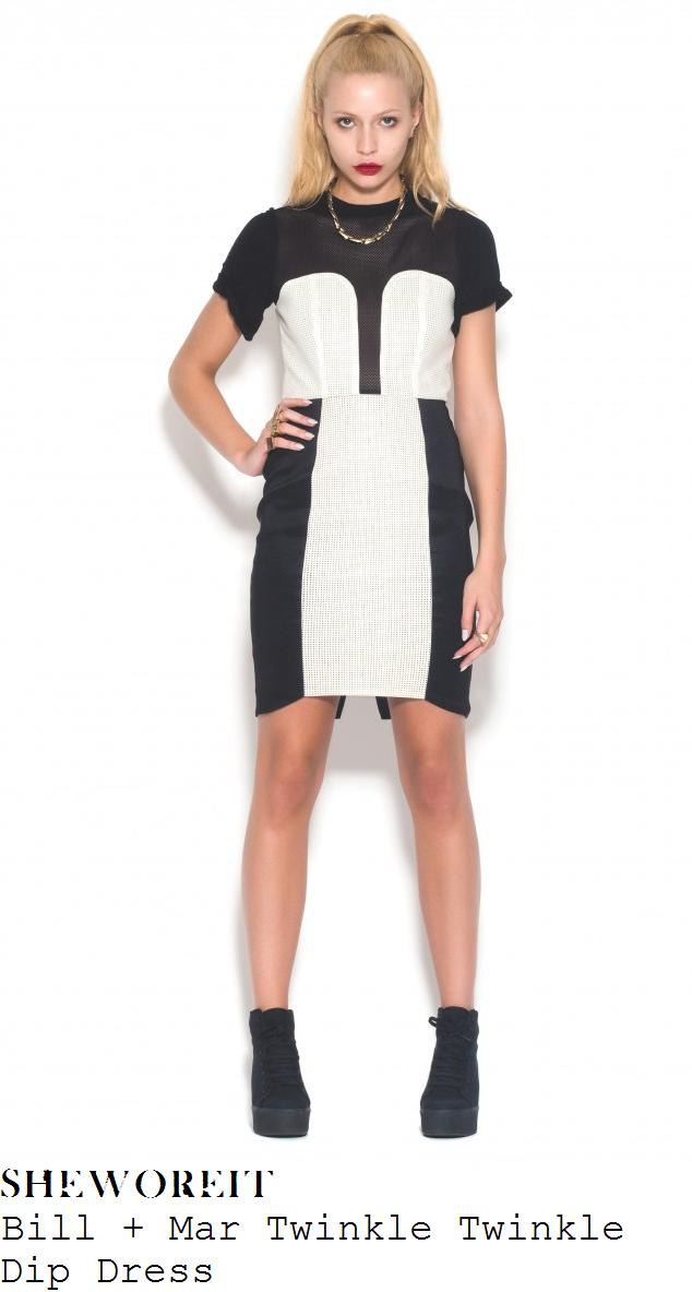 ferne-mccann-black-and-white-monochrome-mesh-short-sleeve-dress-the-hardy-bucks-premiere