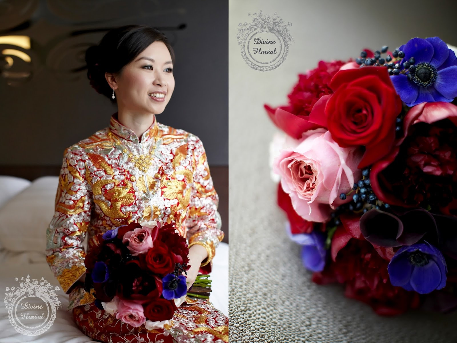 Divine Floréal Bouquet for Traditional Chinese Wedding Gown