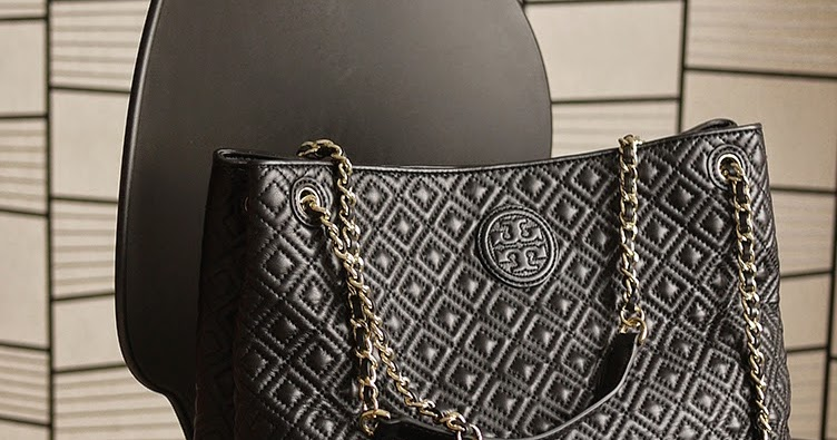 Tory Burch Marion Quilted Chain Shoulder Slouchy Tote Black