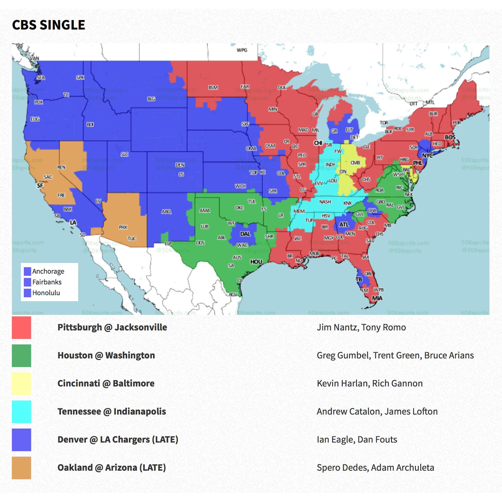 PACKERVILLE, U.S.A.: 2018 Week 11 NFL TV Maps