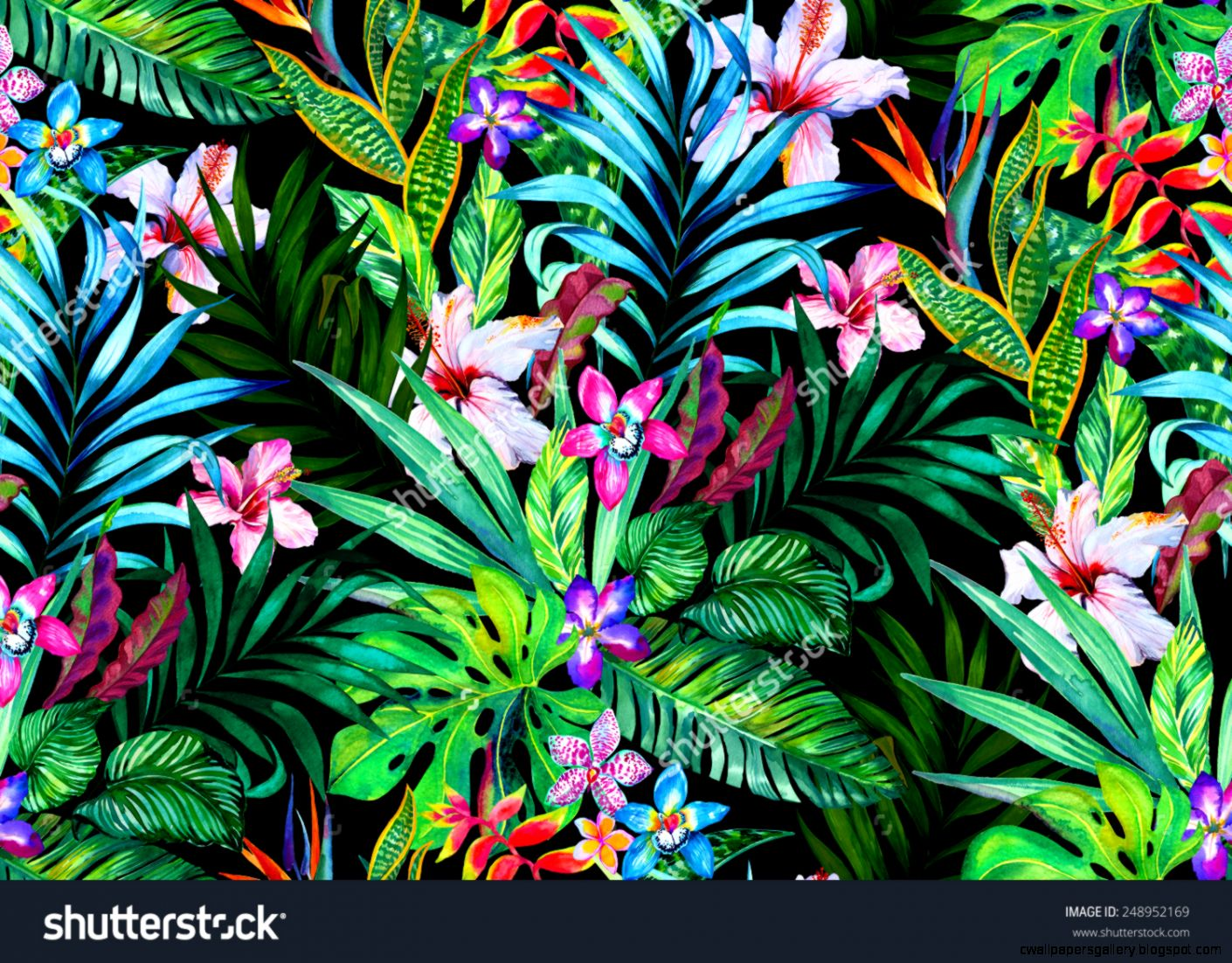 Amazing Seamless Tropical Pattern Exotic Hibiscus And Palm Design