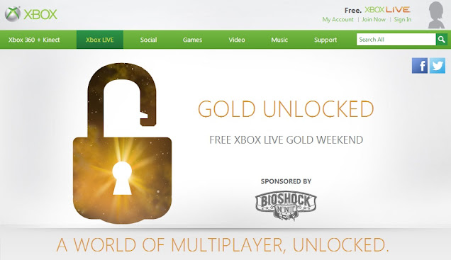 Free Xbox Live Gold Weekend 2013 in UK