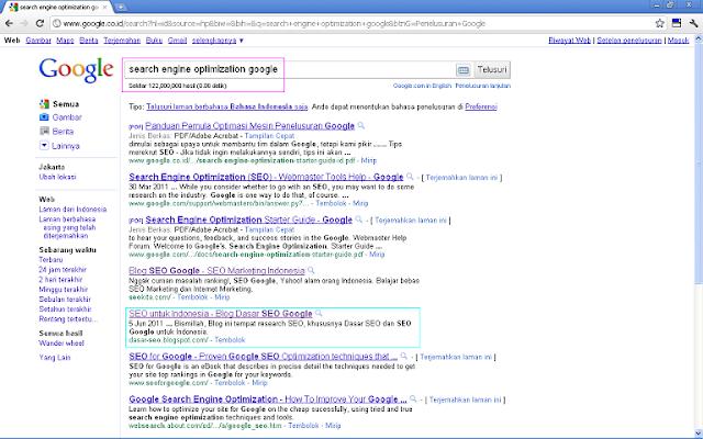 Hasil 10 Besar SERP Google Indonesia untuk Keyword Search Engine Optimization Google