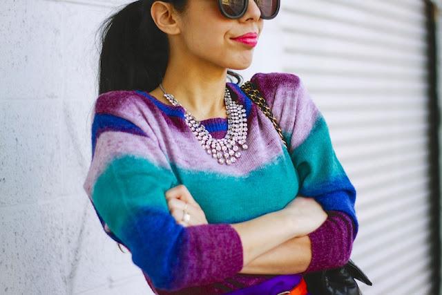 Spring sweater, color block, cap toe pumps, chanel 2.55, karen walker super duper, forever21, statement necklace, maybelline vivid,