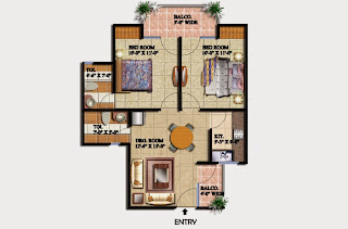 Livingston :: Floor Plans,Block E:-2 BHK (Type E)2 Bedroom, 2 Toilet, Kitchen, Dining, Drawing, 2 Balconies Super Area - 850 Sq Ft