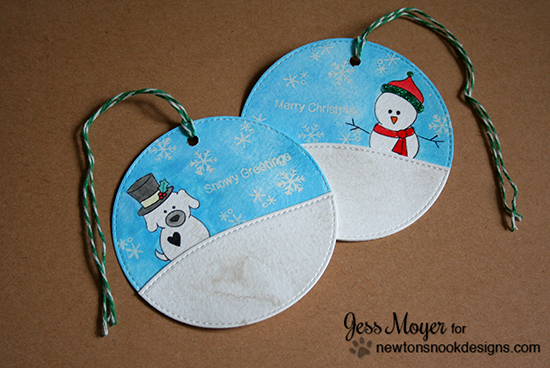 Snowman and Snow dog Christmas tags by Jess Moyer for Newton's Nook Designs - Flaky Family Snowman Stamp Set