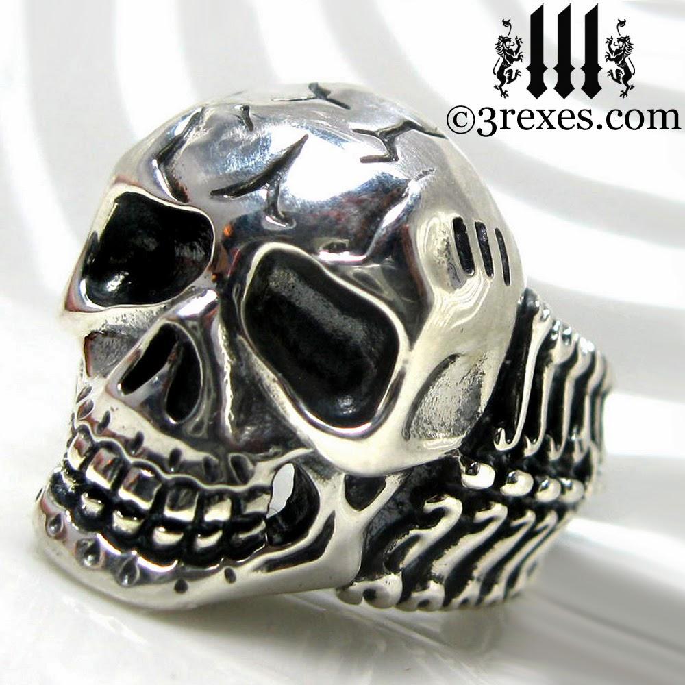 mens silver skull ring biker band