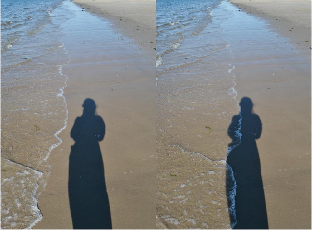 waves shadow figure beach nairn