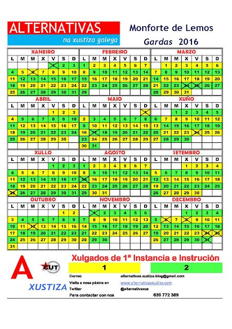Monforte. Calendario gardas 2016