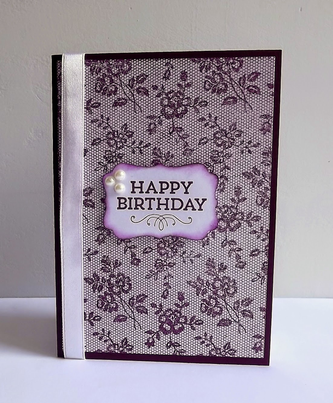 Stampin Up! Blackberry bliss, I love lace stamp card