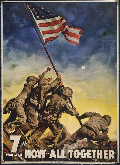 war, military, propaganda, vintage, vintage posters, retro prints, classic posters, free download, graphic design, treasury department, 7th War Loan, Now... All Together - Vintage War Military Poster