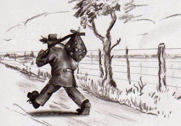 vagabundo con mono a cuestas