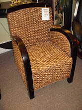 Dark Stain Accent Chair With Woven Seagrass