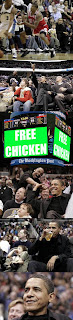 obama at basketball game free chicken vertical