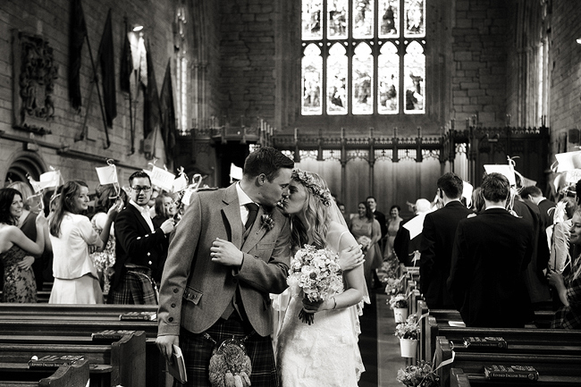 {Lillian and Leonard Wedding Photography} Dunkeld Cathedral aisle kiss