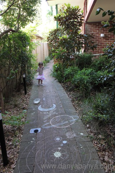 Solar system chalk drawing fun