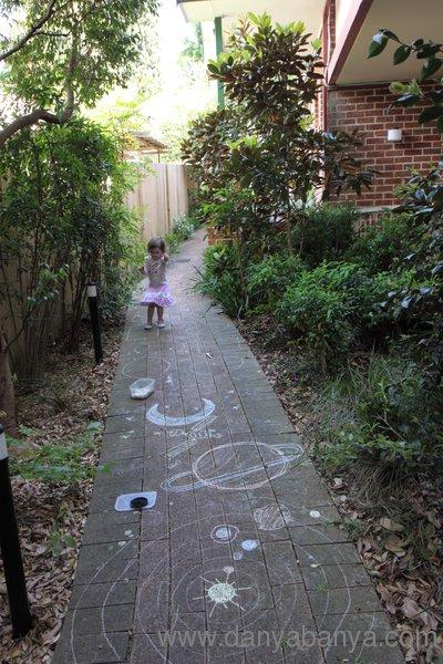 Solar system chalk drawing fun