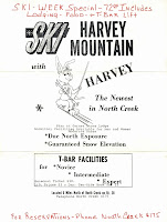 Vintage ski poster from Harvey Mountain, North River, NY, date unknown.  Courtesy Jeremy Davis and the New England Lost Ski Areas Project.   The Saratoga Skier and Hiker, first-hand accounts of adventures in the Adirondacks and beyond, and Gore Mountain ski blog.