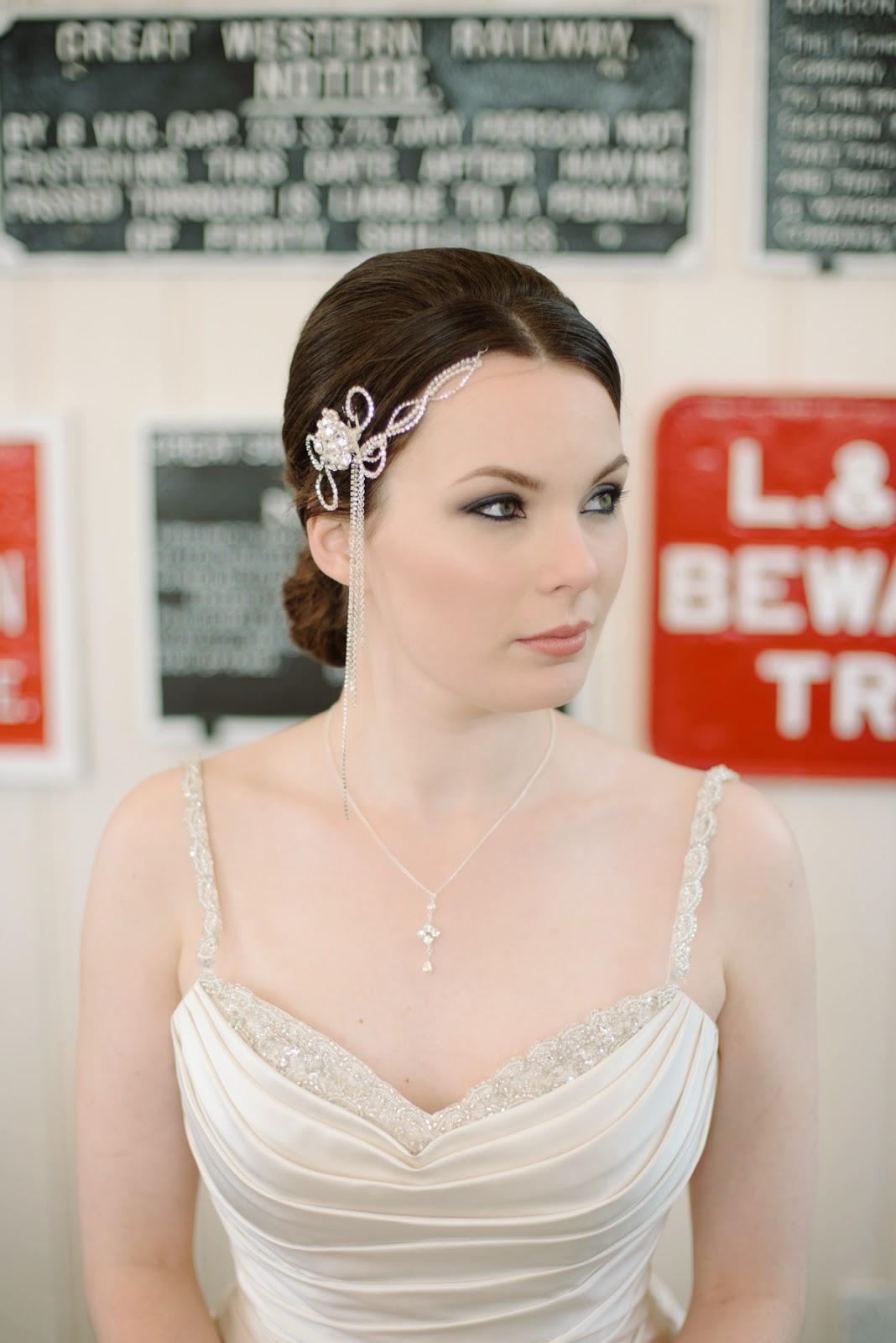 art deco wedding headpiece, side headpiece,