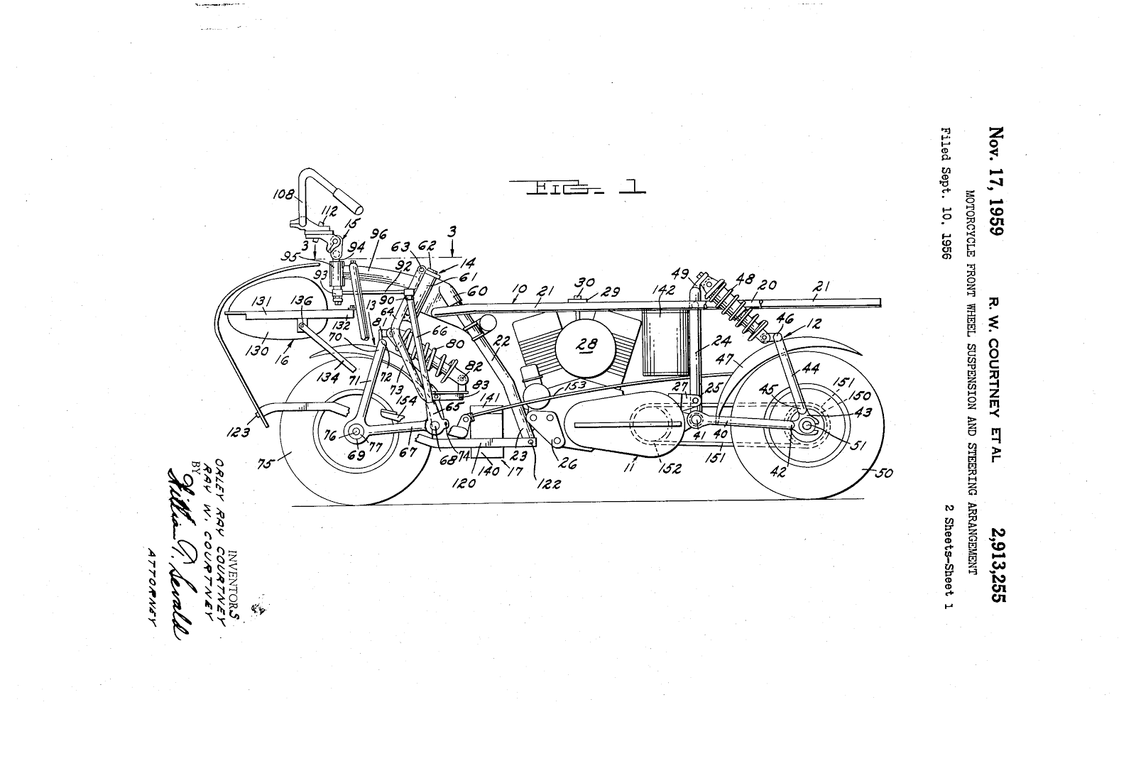 Courtney Enterprise motorcycle chassis patent