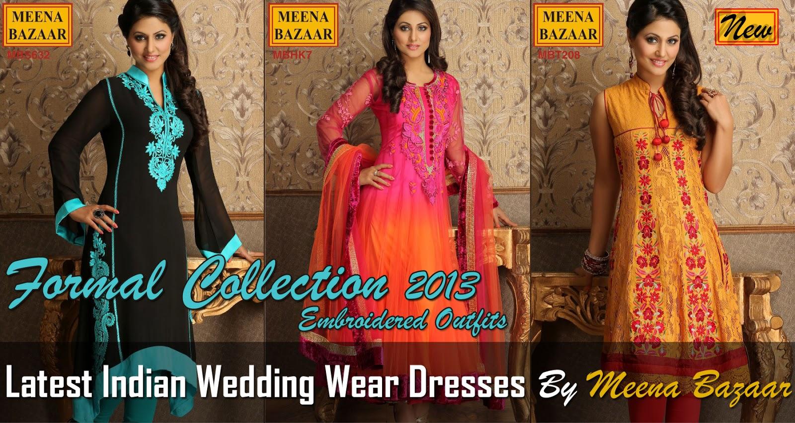 Indian Wedding Suits 2013 By Meena Bazaar Formal Dresses 2013 For