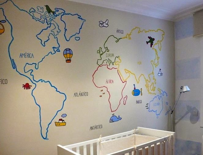 Pintamos un mural mapamundi historietas bajo paraguas - Pintar mural en pared ...