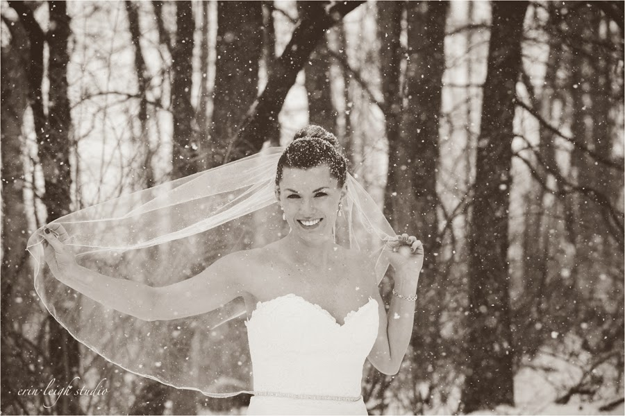 bridal session in the snow