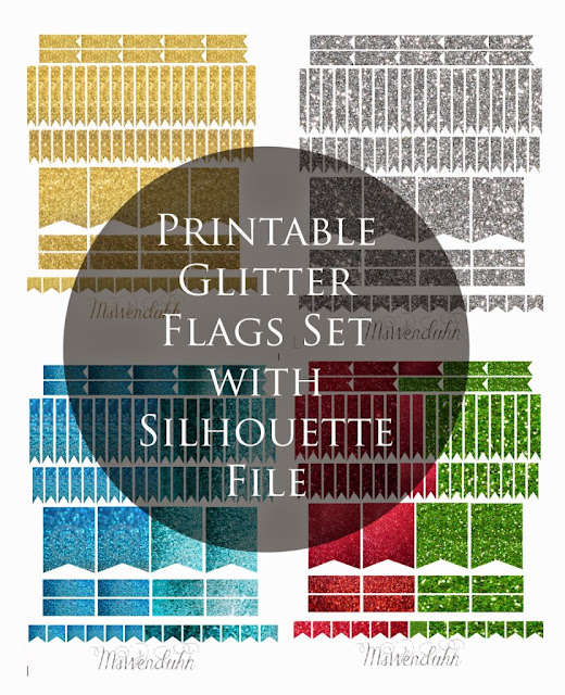 glittery planner printable flags