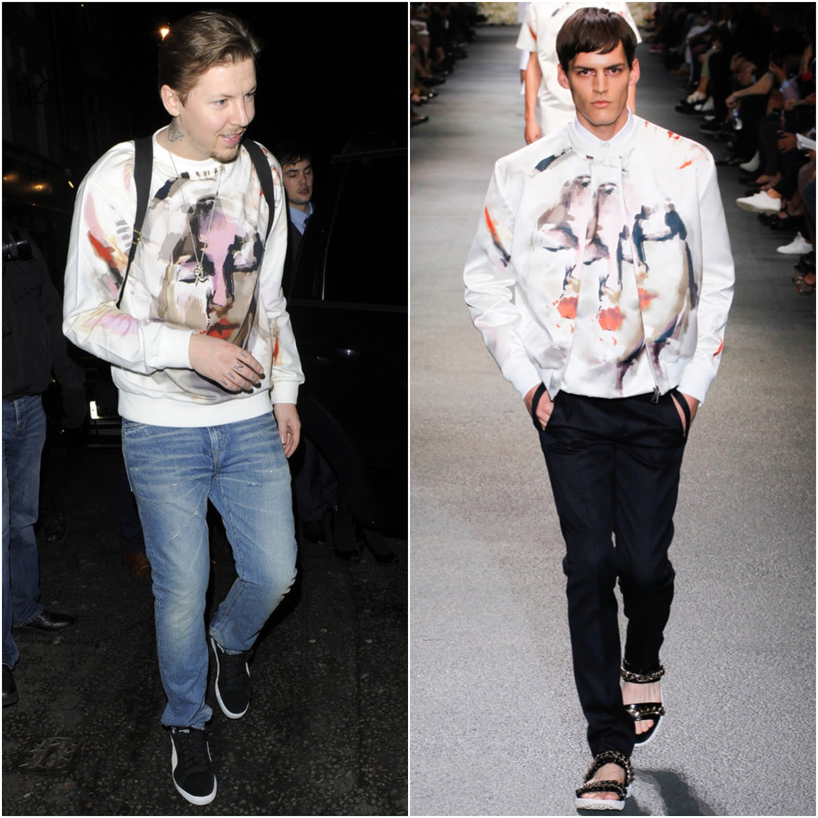 00O00 Menswear Blog Professor Green in Givenchy Madonna print white sweatshirt - engagement party to Millie Mackintosh at Groucho Club in London April 2013